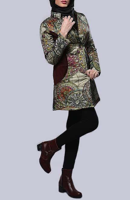 مدل مانتو زمستانی پالتو طرح هرمس نقشدار کوتاه دخترانه شیک