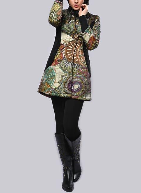 مدل مانتو زمستانه پالتو طرح هرمس نقشدار کوتاه دخترانه شیک