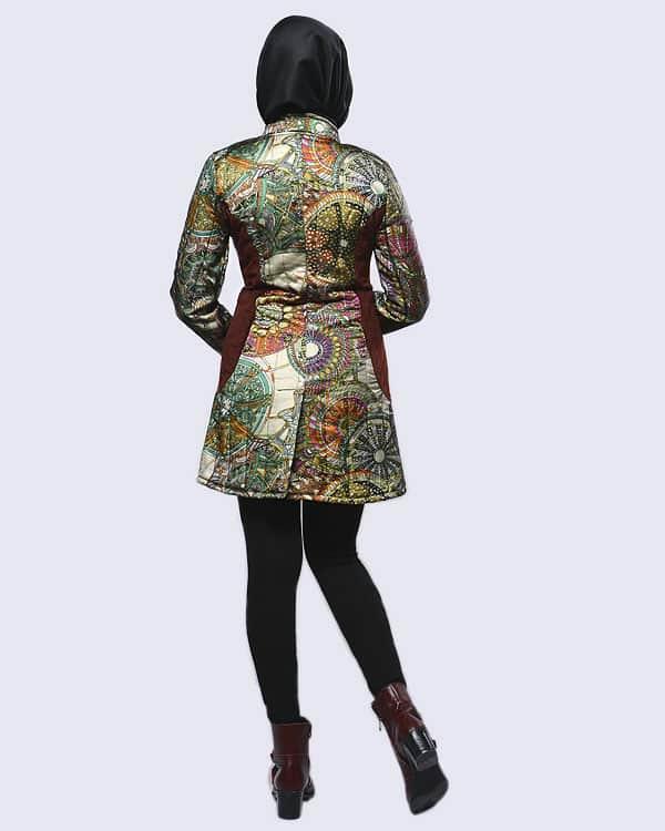 مدل مانتو کتی زمستانی پالتو طرح هرمس نقشدار کوتاه دخترانه شیک
