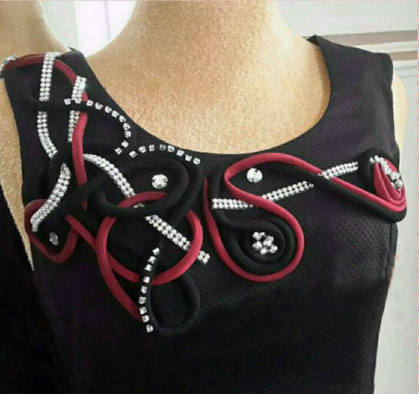 نمونه کار ماکارونی دوزی , تزیین لباس مجلسی