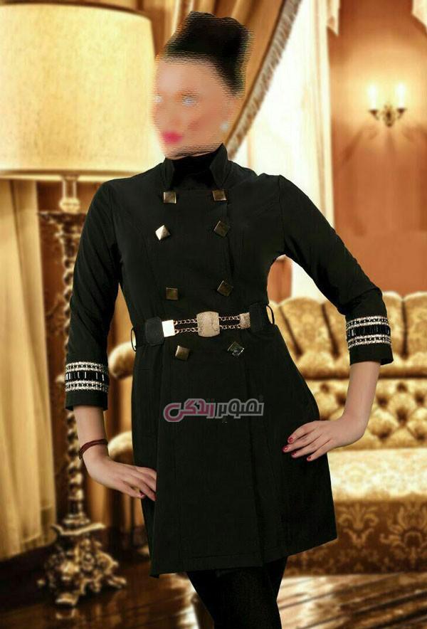 مدل مانتو مجلسی  , مدل مانتو مجلسی شیک به رنگ سیاه