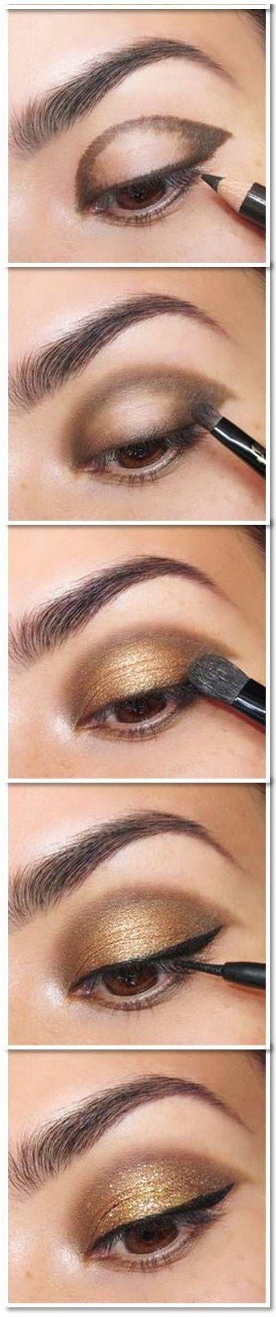 آرایش صورت  , آموزش آرایش چشم تصویری برای جشن ها