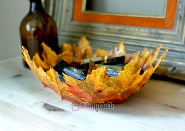 آموزش هنرهای دستی  , ساخت ظرف هفت سین با برگ پاییزی