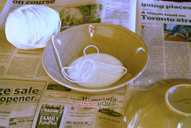 آموزش ساخت ظروف هفت سین با نخ کتان
