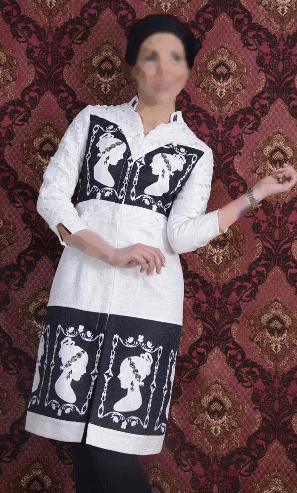 مدل مانتو مجلسی سفید و مشکی