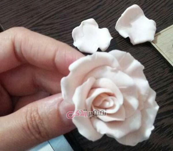 آموزش گل سازی  , ساخت گل رز مینیاتوری با خمیر گلسازی