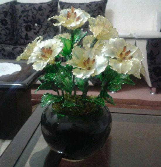 آموزش گل سازی  , آموزش ساخت گل شیشه ای / گل ختمی شیشه ای