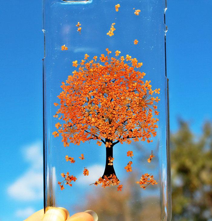 تصاویر دیدنی  , قاب محافظ گوشی تزیین شده با گلهای بهاری