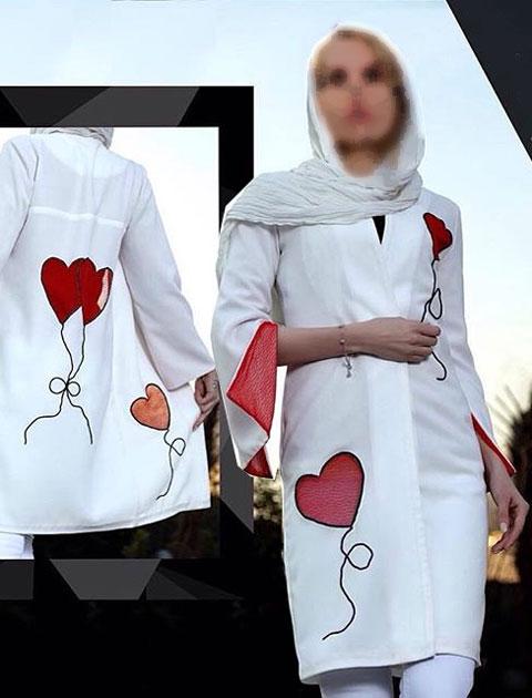 مدل مانتو مجلسی سفید با طرح قلب