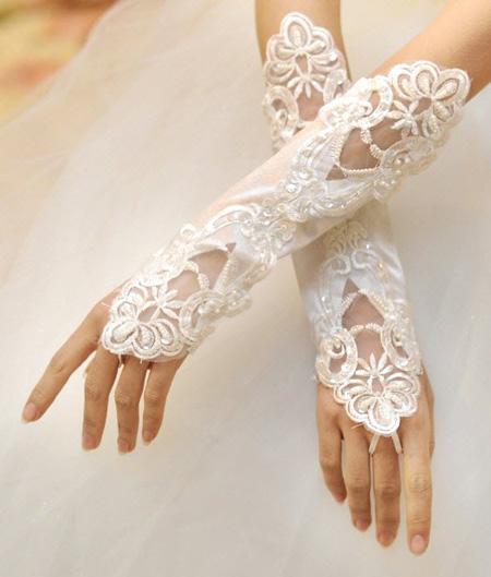 دستکش بدون انگشت عروس,دستکش با گیپور عروس
