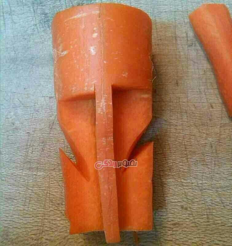 تزیین هویج به شکل ماهی , سبزی آرایی