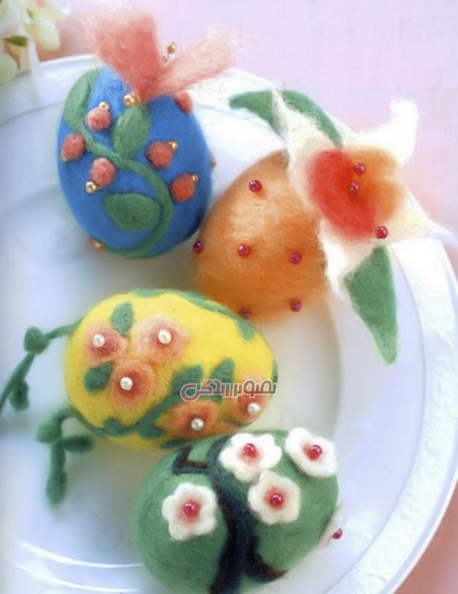 تزیین تخم مرغ با الیاف نمد