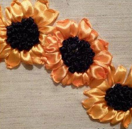 آموزش روبان دوزی , گل آفتابگردان رویانی