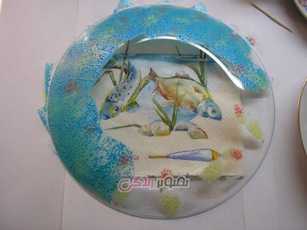 تزیین ظروف شیشه ای , دکوپاژ بشقاب شیشه ای