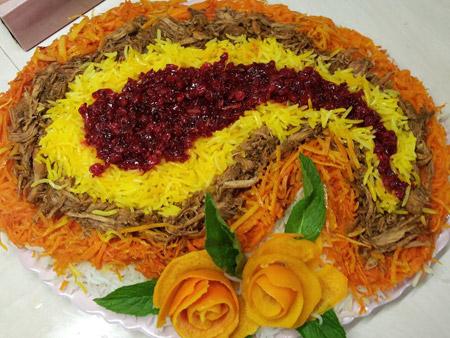 عکس تزیین برنج با زرشک و زعفران , تزئین برنج مجلسی