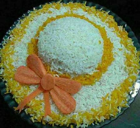 مدل تزیین برنج مجلسی , تزئین برنج به شکل کلاه