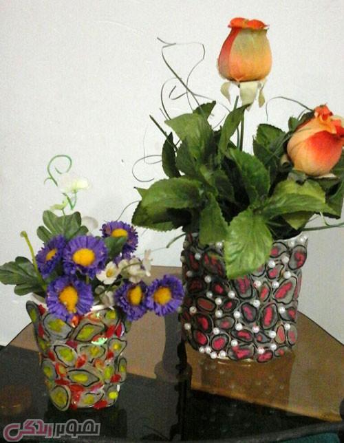 تزیین قوطی خالی , ساخت گلدان