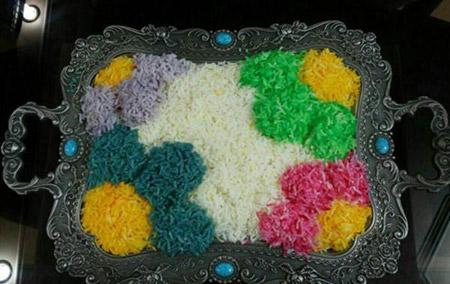 مدل تزیین برنج مجلسی , تزئین برنج با رنگ خوراکی