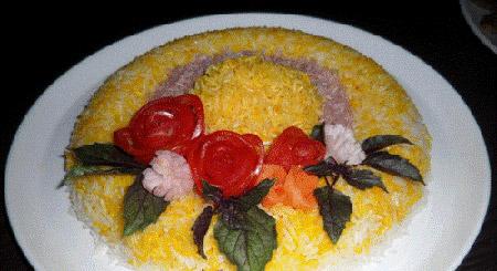 مدل تزیین برنج مجلسی , تزئین برنج با زعفران و سبزیجات