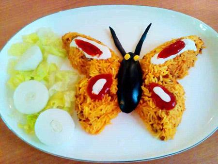 مدل تزیین برنج مجلسی , تزئین برنج به شکل پروانه
