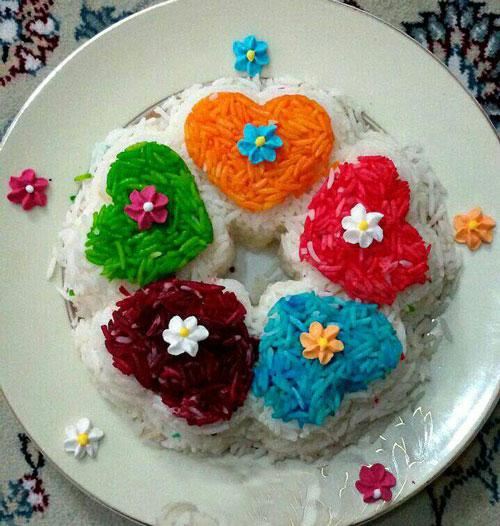 تزیین برنج مجلسی با رنگ خوراکی