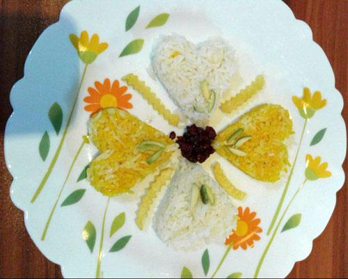 تزیین برنج به شکل گل , تزئین برنج مجلسی