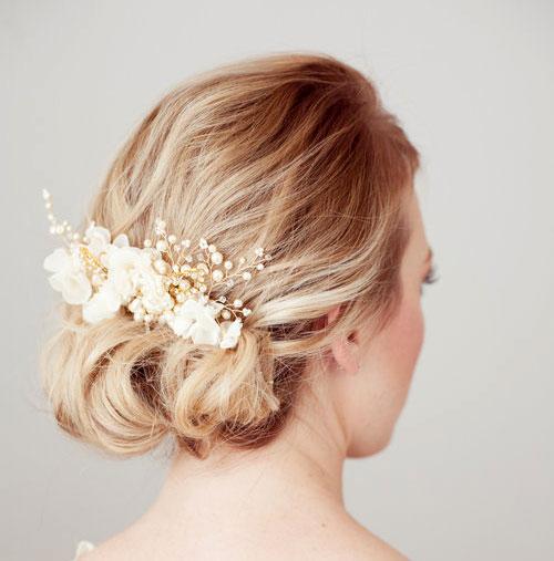 مدل گل سر عروس , عکس شینیون عروس