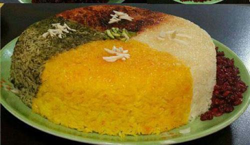 برنج قالی 4 رنگ , تزئین برنج مجلسی