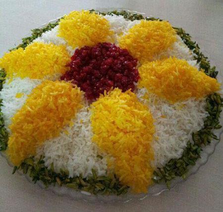 تزیین برنج با زرشک و زعفران , تزئین برنج مجلسی