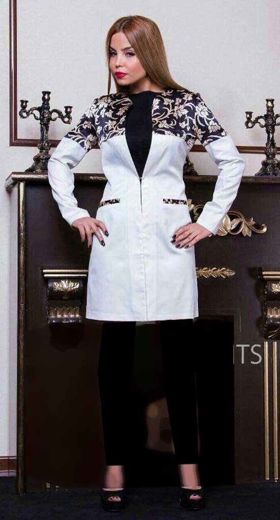 مانتو مجلسی سفید و مشکی , مدل مانتو جدید