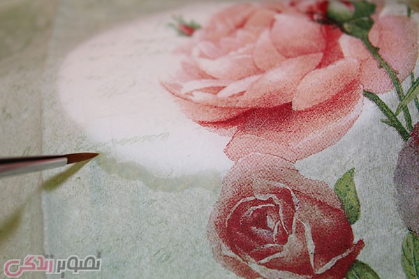 دکوپاژ روی صابون , تزیین صابون عروس