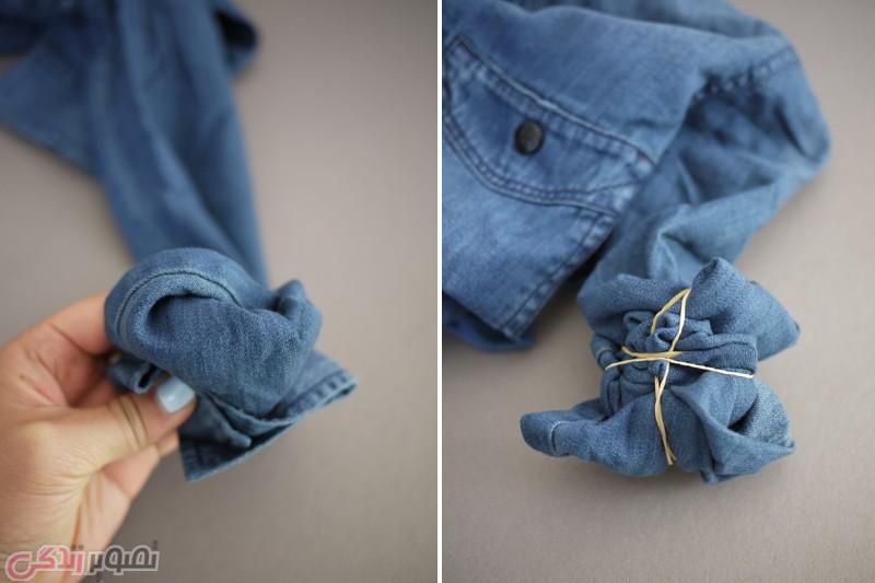 آموزش هنرهای دستی  , ابر و بادی کردن لباس های کتانی / چاپ گرهی