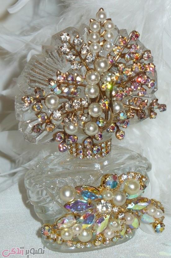 تزیین ظروف شیشه ای , جواهر کاری , نماجواهر