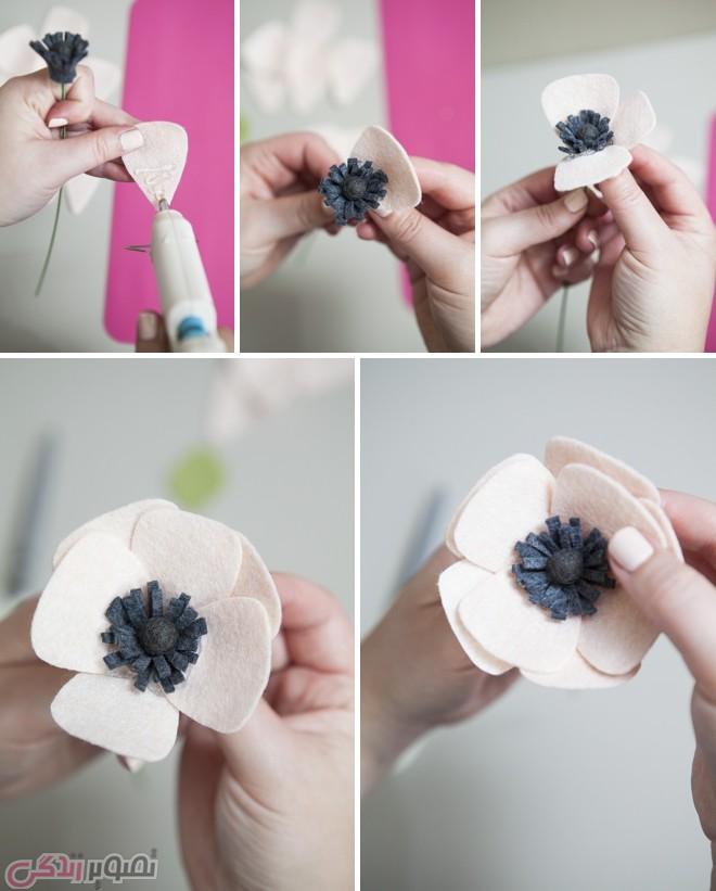 ساخت گل شقایق نمدی , آموزش گلسازی
