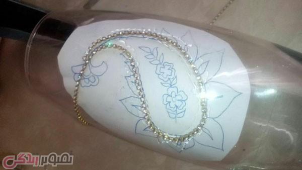 آموزش هنرهای دستی  , نما جواهر گلدان شیشه ای / جواهر کاری