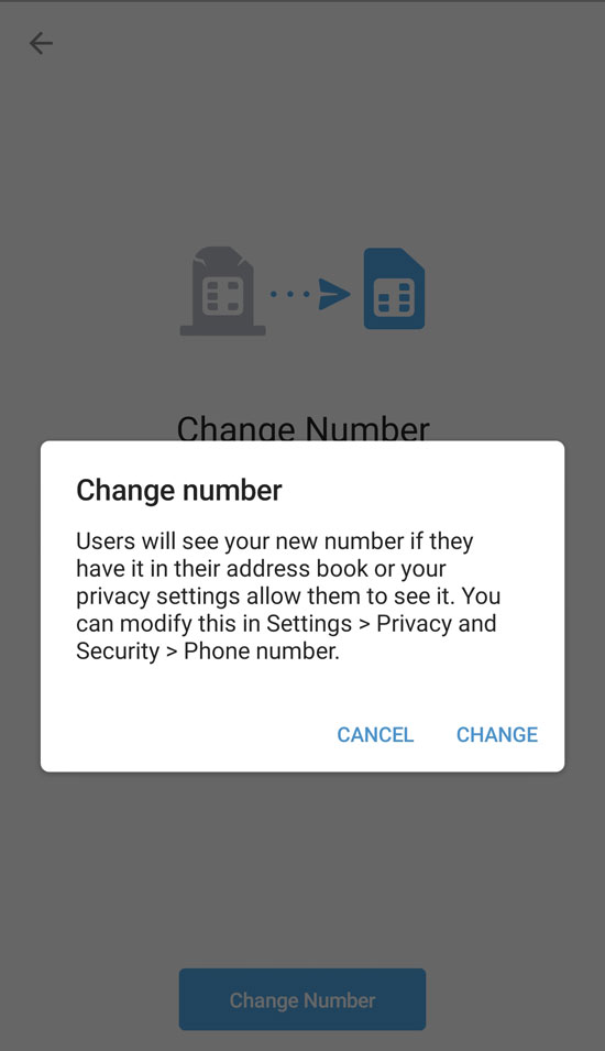 Tap to change phone number