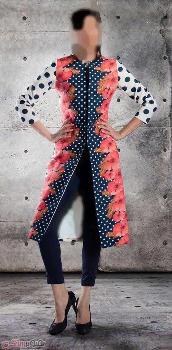 مدل مانتو گلدار,مدل مانتو جلو باز رنگی