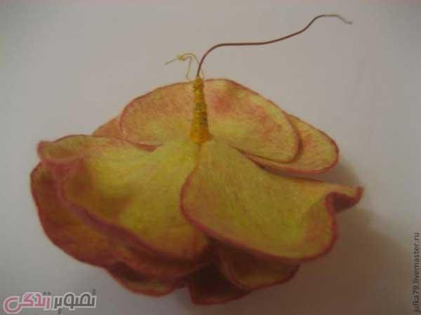 آموزش گل سازی  , آموزش ساخت گل رز کچه ای / کچه دوزی