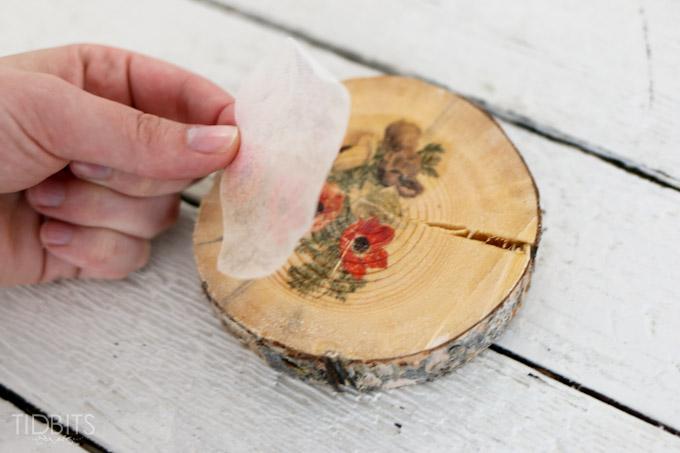زیر بشقابی ,زیر لیوانی چوبی, دکوپاژ روی چوب