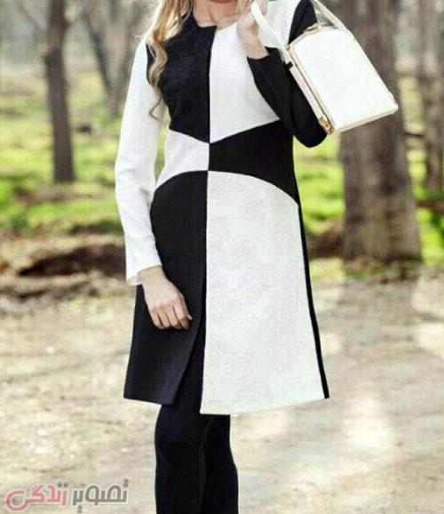 عکس مدل مانتو سفید و مشکی,مدل مانتو جدید