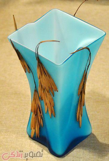 تزیین گلدان ساده , تزیین گلدان با زر ورق, تزیین گلدان با گیاه خشک