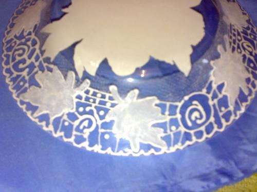 آموزش ویترای  , تزیین بشقاب بلوری با تکنیک ریشلو / نقاشی روی ظروف