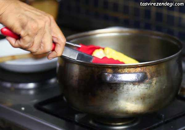 روش پختن بلال,آب پز کردن بلال,طرز پخت بلال