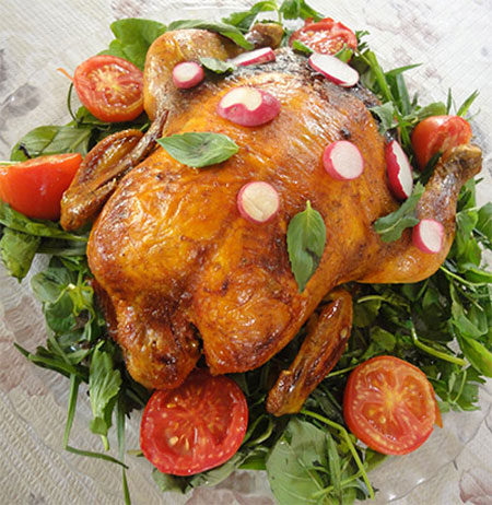 تزیین ظرف مرغ درسته, دورچین مرغ شکم پر