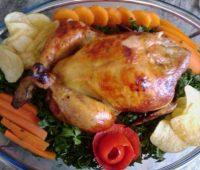 مدل تزیین مرغ شکم پر،تزیین ظرف مرغ درسته