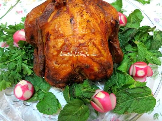 مرغ شکم پر مجلسی, مرغ شکم پر در فر