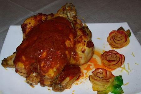 تزیینات مرغ شکم پر,تزیین مرغ درسته