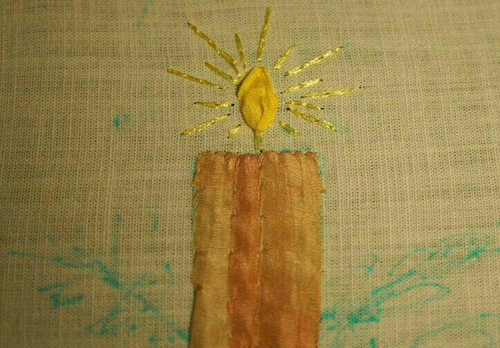 آموزش روبان دوزی, دوخت شمع روبانی
