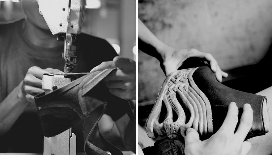مدل کیف و کفش  , عکس کفش هایی با پاشنه چوبی حکاکی شده