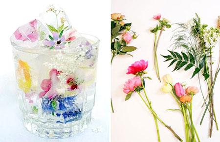 تزیین یخ, تزیین یخ با گل های تابستانی